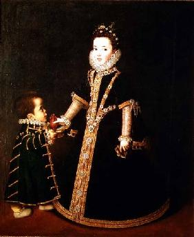 Girl with a dwarf, thought to be a portrait of Margarita of Savoy, daughter of the Duke and Duchess c.1595
