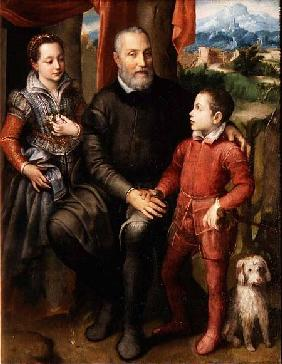 Portrait of the artist's family, Minerva (sister) Amilcare (father) and Asdrubale (brother) 1559