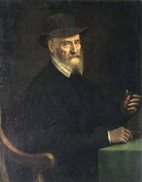 Portrait of Giulio Clovio (1498-1578), miniature artist, holding a miniature thought to be of the ar 1556