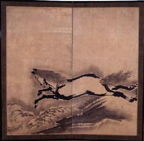 Horse Jumping, Japanese, Edo period c.18th cen