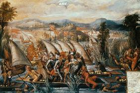 The Capture of Guatemoc (c.1495-1522), the last Aztec Emperor of Mexico 16th centu