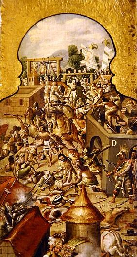 Depiction of the atrocities committed during the fighting for the conquest of the Temple Mayor and t