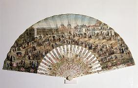 Fan depicting the Plaza de la Cebada, Madrid (ivory & gouache on paper)