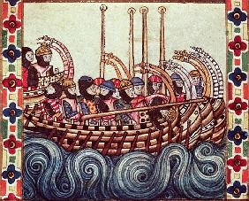 Fol.53r Departure of a Boat for the Crusades, written in Galacian for Alfonso X (1221-84)