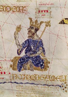 Kankou Mousa, King of Mali, from the Map of Charles V, Map of Mecia de Viladestes, a portulan of Eur