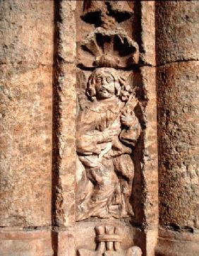 Lute player, from the facade of the Palace of Montarco from the f