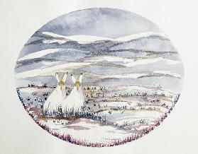 Two Hares in a Snowy Landscape (w/c)
