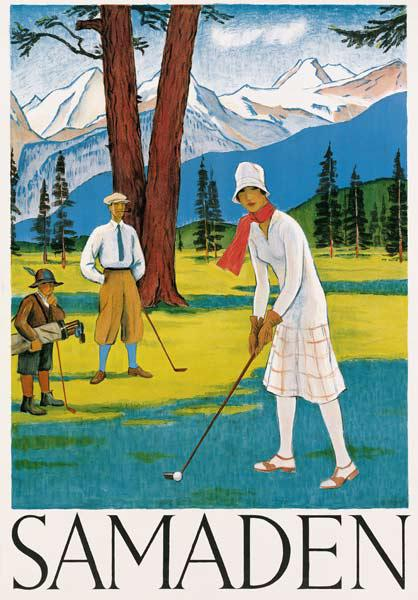 Poster advertising Samaden in Switzerland c.1920