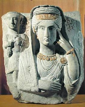 Funerary relief with a female figure, from Palmyra, Syria