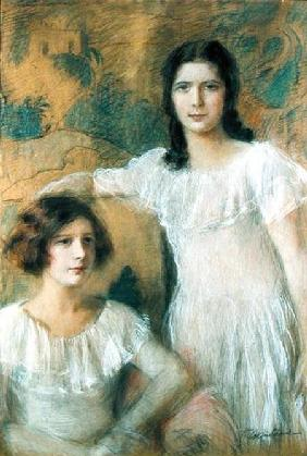Portrait of Two Girls c.1910 ste