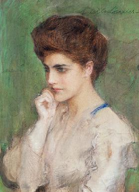 Woman Deep in Thought c.1910 ste
