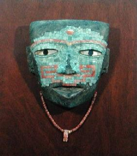 Anthropomorphic Mask (stone, turquoise obsidian and shell) (157743)