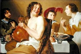 Figures eating and drinking around a table 1634