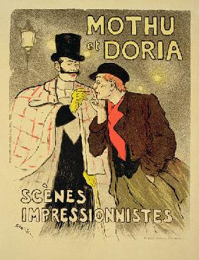 Reproduction of a poster advertising 'Mothu and Doria'in impressionist scenes 1893