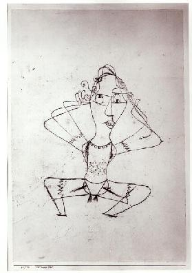 The trombone sounds, 1921 (no 110) (oil transfer drawing on paper on carboard) (b/w photo)  1921