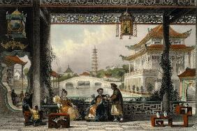Pavilion and Gardens of a Mandarin near Peking, from 'China in a Series of Views' by George Newenham 19th