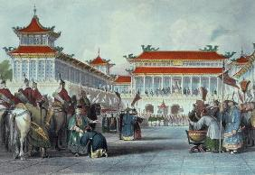 The Emperor Teaon-Kwang Reviewing his Guards, Palace of Peking, from 'China in a Series of Views' by 1892
