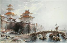 Western Gate of Peking, c.1850 (colour litho) 20th