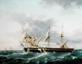Naval Engagement between USS Wasp and HMS Frolic c.1815