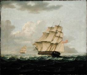A British Frigate in Pursuit of a French Frigate