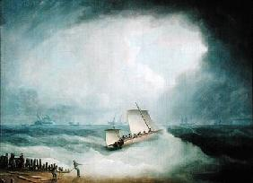 A Deal Lugger Going off to a Storm-bound Ship in the Downs, South Foreland