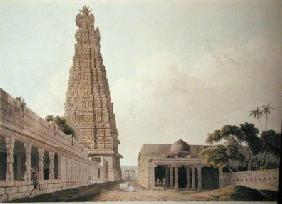 Hindoo Temple at Madura, plate XVI from 'Oriental Scenery' published