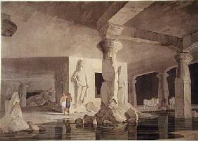 Part of the Temple of the Elephanta, plate VIII from 'Oriental Scenery' published