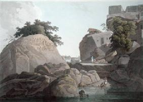South East View of the Fakeers Rock on the River Ganges, near Sultaungunge, plate X from 'Oriental S published