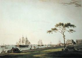View Taken on the Esplanade, Calcutta, plate I from 'Oriental Scenery' published