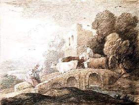 A bridge with cattle passing over 1797