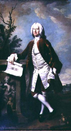 Portrait of Theodore Jacobsen, architect of the Foundling Hospital, shown holding a drawing of the W c.1742