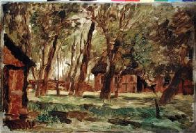 Farmstead under Trees (oil on paper)