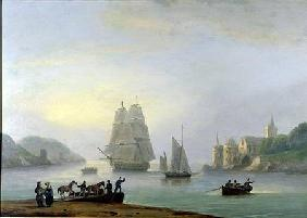 A Brig Entering Dartmouth Harbour, with a Ferry in the Foreground 1828