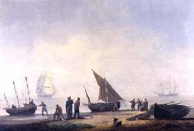 Fisherfolk on a Beach, with Vessels Offshore 1825