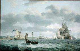 Men-of-War and other Ships in a Breeze off Dover 1803