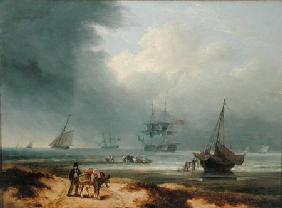 Shipping in a Windswept Bay with Men Working on the Shore 1812