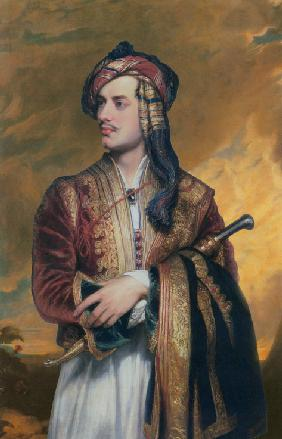 Porträt des Dichters Lord George Noel Byron (1788-1824) in Albanischer Tracht 1835
