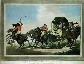 """English Travelling, or The First Stage from Dover"", aquatinted by Francis Jukes (1747-1812), pub. b 1785 colou"