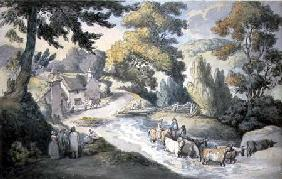 Landscape with Cattle Fording a Stream (w/c, pen &