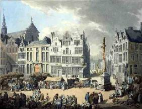 Place de Mier at Antwerp, engraved by Wright and Schutz, pub. by Rudolph Ackermann 1797 oured
