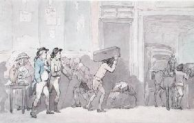 Rowlandson and Wigstead (1745-93) Arriving at an Inn (pen & grey ink and w/c on paper)