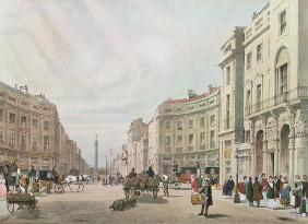 Regent Street, Looking Towards the Duke of York's Column, from 'London As It Is', engraved and pub. 19th