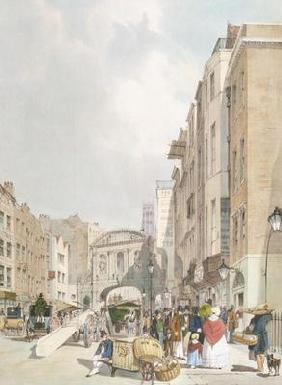 Temple Bar, from the Strand, from 'London As It Is', engraved and pub. by the artist, 1842 (colour l 19th