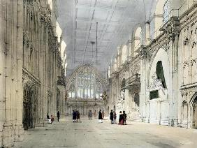 The Guildhall, Interior, from 'London As It Is', engraved and published by the artist, 1842 (colour 19th
