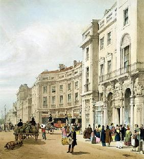 Western side of John Nash's extended Regent Circus (detail) from 'London As It Is', engraved and pub 19th