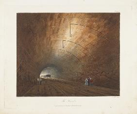 Der Tunnel. Aus Coloured Views on the Liverpool and Manchester Railway 1831