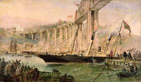 Opening Ceremony of the Royal Albert Bridge, Saltash, with a Paddle Steamer Passing Underneath 1859