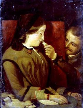 Man Tickling a Woman's Nose with a Feather c.1860