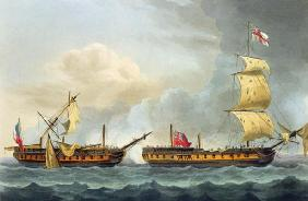 Capture of La Fique, January 5th 1795, from 'The Naval Achievements of Great Britain' by James Jenki 1743