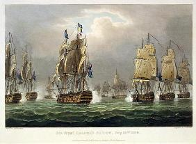 Sir Robert Calder's Action, July 22nd 1805, engraved by Thomas Sutherland for J. Jenkins's 'Naval Ac 17th